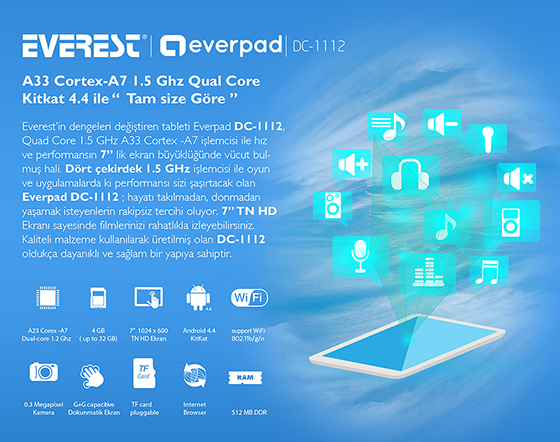Everest Everpad DC-1112 HD Panel 512 DDR3 1.5GHz Quad Core 8GB Tablet Pc