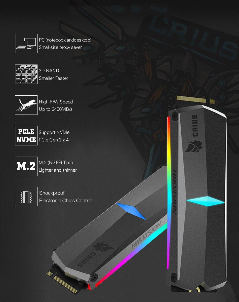 Hikvision HikStorage SSD RGB 256GB 512GB 1TB M.2 ngff Nvme Pcie dahili katý  hal diski SSD 2280 dizüstü bilgisayar için masaüstü TLC Disk| | - AliExpress