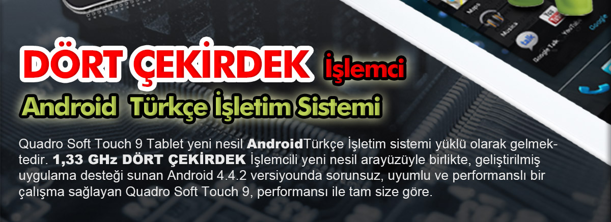 quadro, soft touch 9, android tablet, 9 inç; tablet, 9inç;
