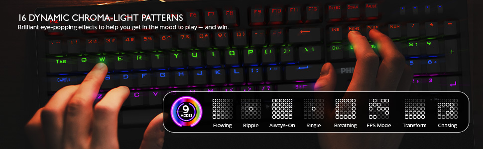 16 DYNAMIC CHROMA-LIGHT PATTERNS Brilliant eye-popping effects get in the mood to play — and win.